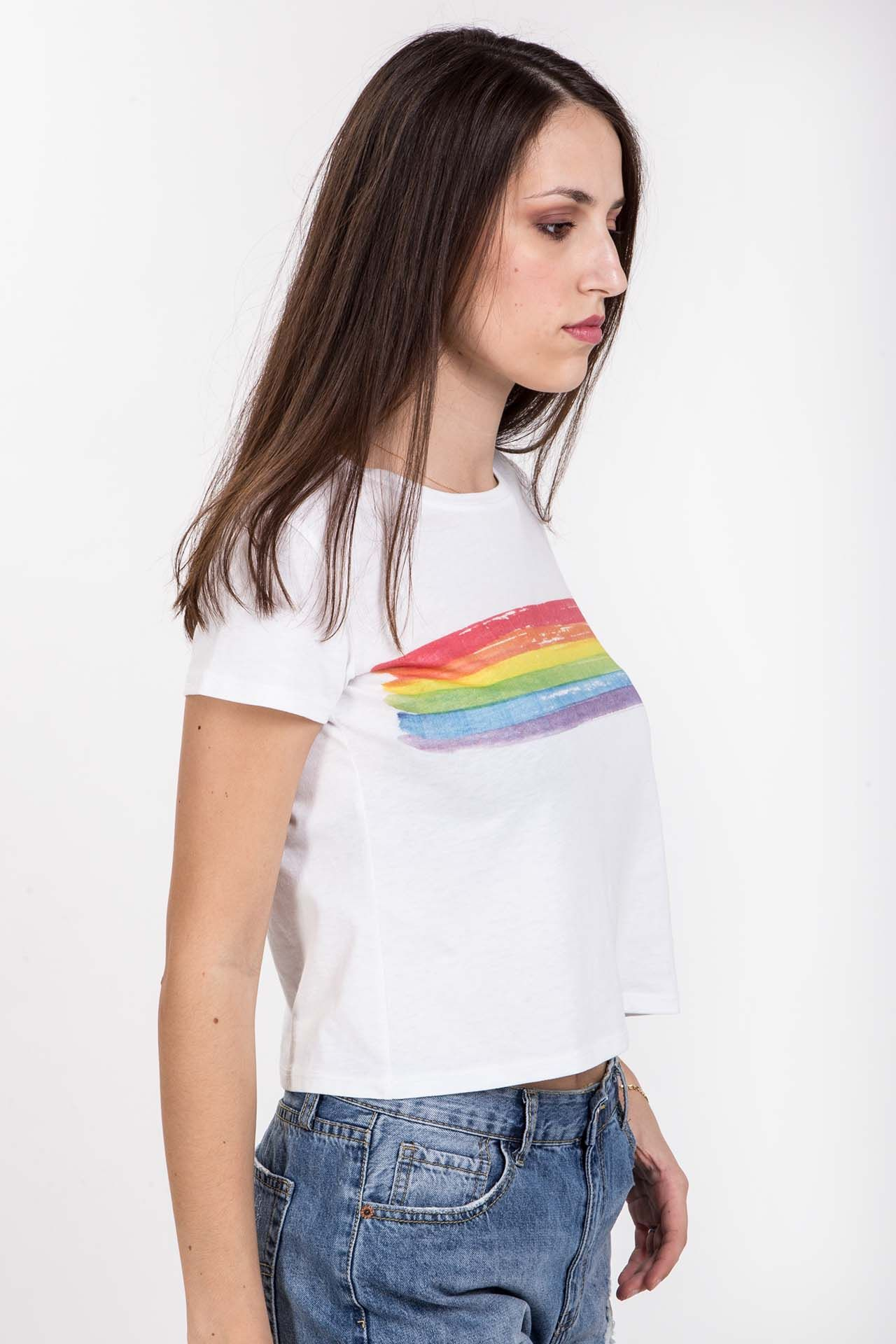 T-shirt con arcobaleno - bianca Brend