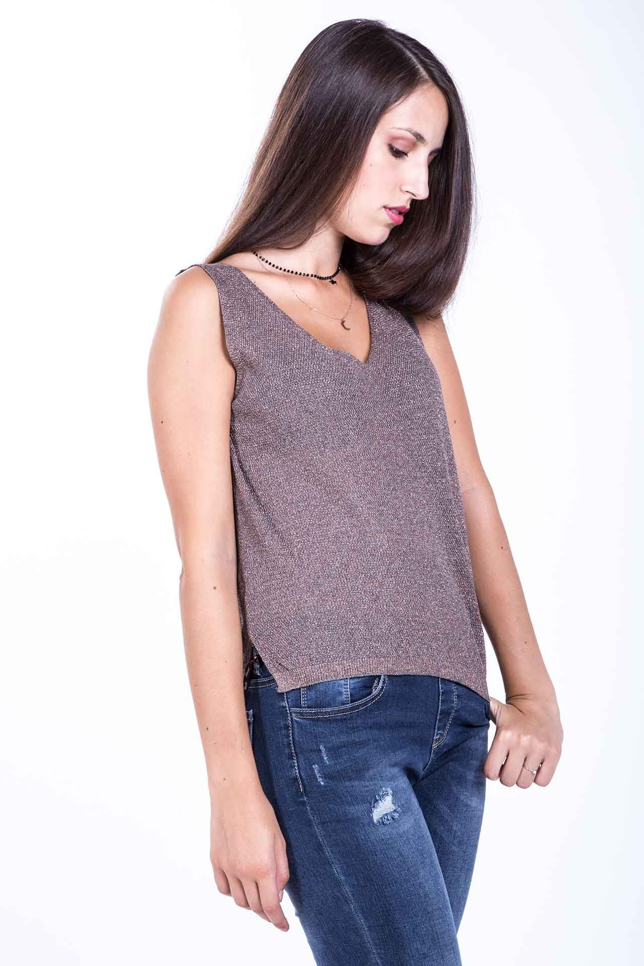 Top in Lurex - antracite Brend