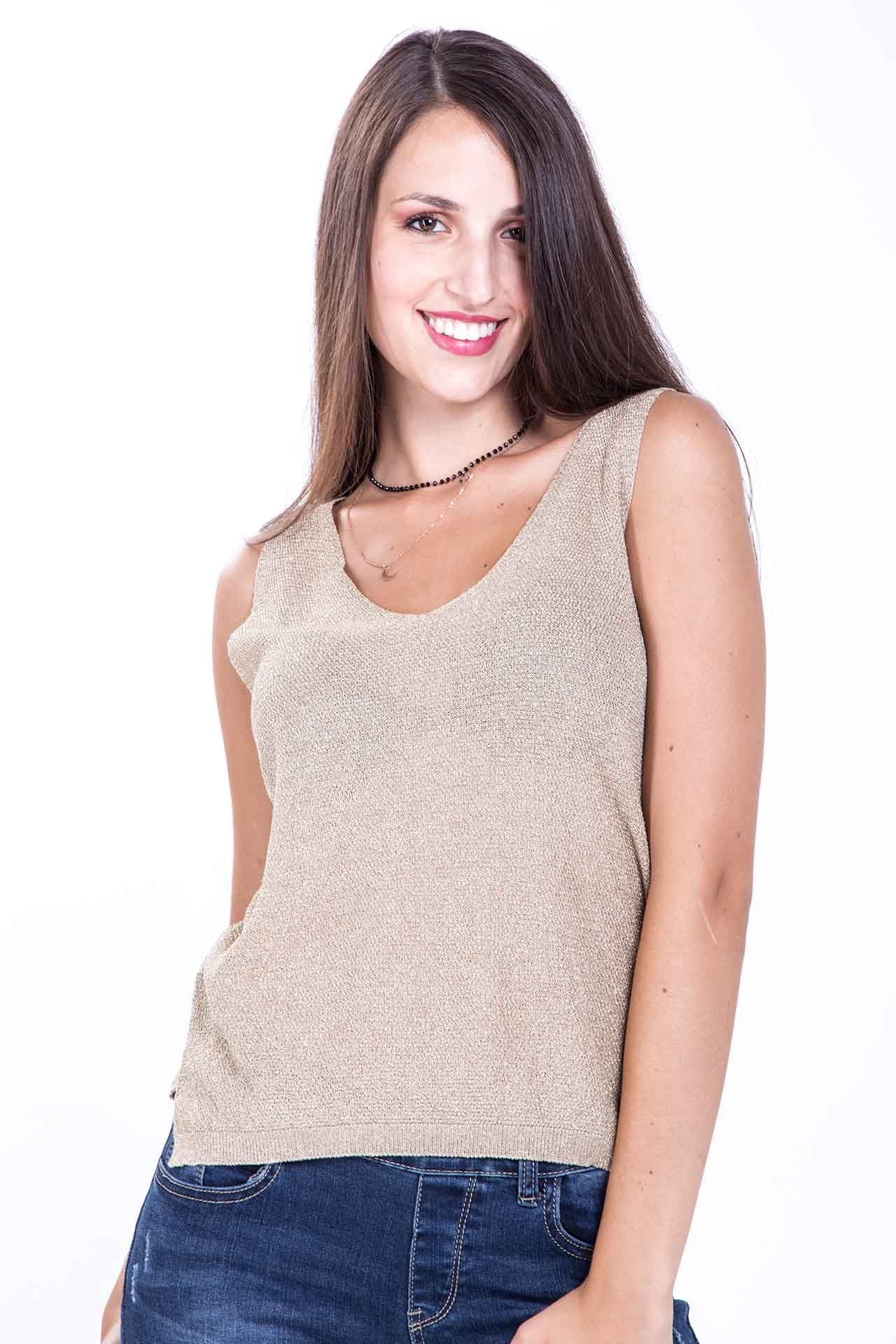 Top in Lurex - oro Brend
