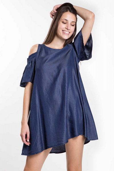 Abito in chambray cut out